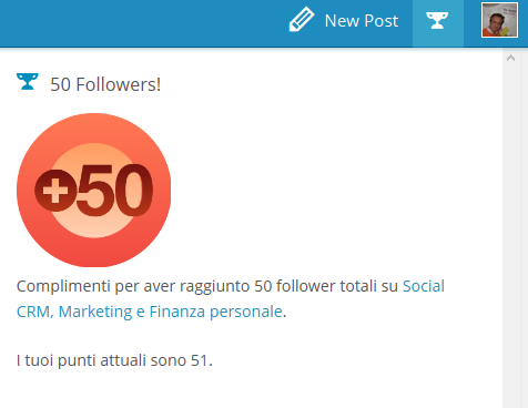 50 followers per mio blog